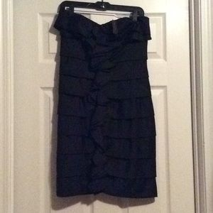 Black ruffled cocktail dress